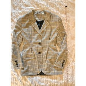 80s style 2 button checkered pleated fitted blazer